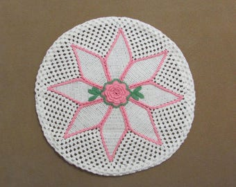 Vintage Hand Crochet Chair Seat Cover White With Pink Rosette Flower