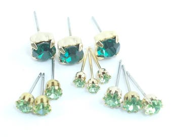 Vintage Swarovski EMERALD or  PERIDOT  Green Crystal  Earring Posts (6)  CHOOSE Color  and Size