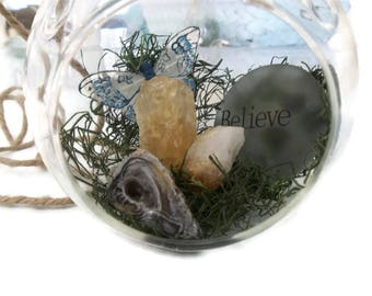 Citrine & Geode Gemstone Terrarium, Glass Globe Terrarium, Hanging Fairy Garden, Believe Butterfly Terrarium, Citrine Crystal Point Orb
