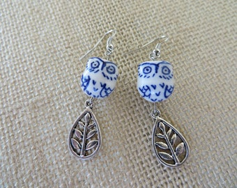 White And Blue Porcelain Owl And Silver Leaf Earrings