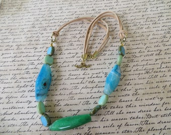 Tan Leather And Blue Green Tubular Agate Bead Necklace