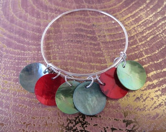 Adjustable Bangle Bracelet With Colorful Mussel Shell Beads