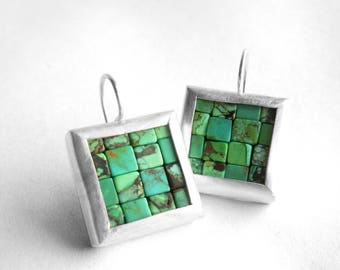 Mosaic Earrings - Turquoise Silver Earrings - Square Earrings - Blue Gemstone Earrings - ready to ship - Turquoise Earrings - Blue Earrings