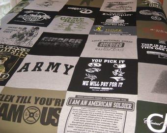 T-shirt Quilt/blanket, fleece back, full size