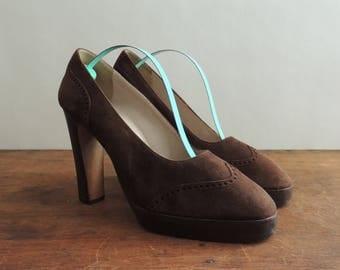 1970 Brown Suede Pumps by Scarpino // Vintage Italian Suede Heels // 1970 Platform Pumps // Vintage Suede Pumps // 1970 Disco Shoe // US 8.5