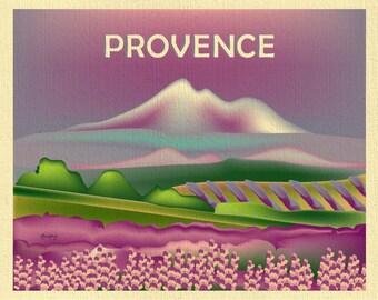Provence Skyline Print, Provence France art, Provence Print, Provence Baby Art, Provence Art, Provence Print, style E8-O-PRO-FR