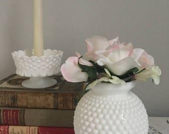 Summer Sale White hobnail vase, vintage hobnail vase, vintage milk glass vase, Round hobnail vase