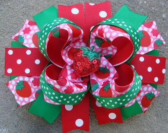 Strawberry Hair Bow Large Boutique Hair Bow Pink and red hair bow Polka Dots hair bow large hair bow strawberry bow