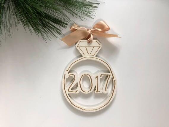 Wedding ornament, 2017 ornament,  engagement ornament, hand painted, wood ornament, engagement ring ornament