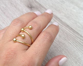 Adjustable Ring, Art Ring, Modern Ring, Design Ring, Boho Ring, Unusual Ring, Statement Ring, Geometric Ring, Plated Gold Ring, Unique Ring