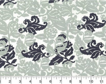 Gray and Navy Blue Leaf Print - by the YARD - Cotton Fabric