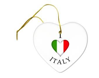 I Heart Italy Italian Flag on a Ceramic Hanging Heart Ornament