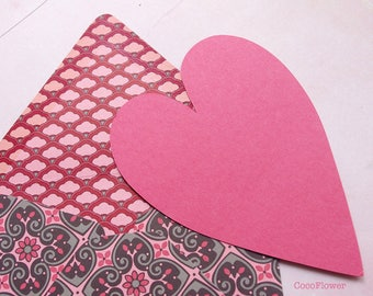 1 heart and pink envelope - love invitation card Valentine's day