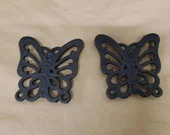 Pair of Vintage Cast Iron Butterfly Trivets