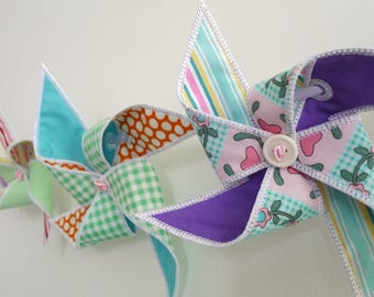 """Pinwheel Bunting In The Hoop Project Machine Embroidery Designs Applique Patterns ITH in 5 sizes 4"""", 5"""", 6"""", 7"""" and 8"""""""