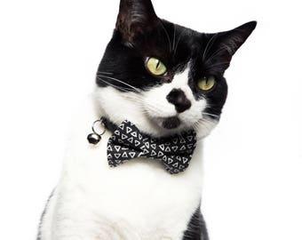 "Cat Bow Tie - ""The Modernist"" - Dark Gray Geometric Print"