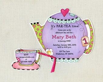 22 Purple Teapot Birthday Party Invitations | Personalized Girl Birthday Invitations | Tea Party Invitations | 6x6 Invite | Tea Pot Birthday