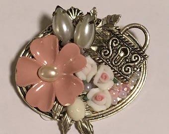 Brooch, Pink Flower Brooch, Lock Brooch, Rose Brooch, Porcelain Rose Brooch, Pearl Brooch, Flower Pin,  Lock Pin, Rose Pin, Pearl Pin