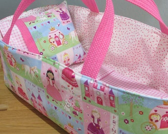 Doll Carrier, Will Fit Bitty Baby and Stella Dolls, Princess Fabric with Pink Lining, 16 Inches Long, Doll Basket