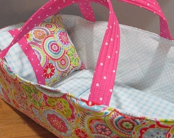 Doll Carrier, Will Fit Wellie Wishers and Bitty Baby Dolls, Colorful with Blue Lining, 16 Inches Long, Doll Basket