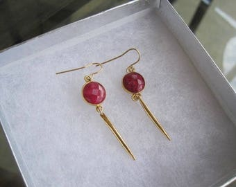 Ruby earrings, ruby drop earrings, ruby and gold dangle earrings, ruby and gold drop earrings, gold dangle earrings, gold drop earrings