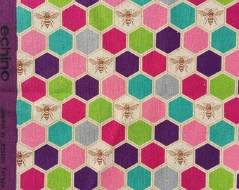 Etsuko Furuya Bees purple pink Echino Fabrics FQ or more