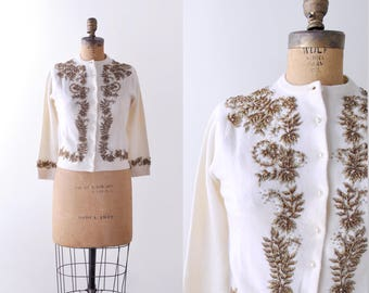 1950 gold beaded cardigan. m. 50's cashmere sweater. cream. copper beads.