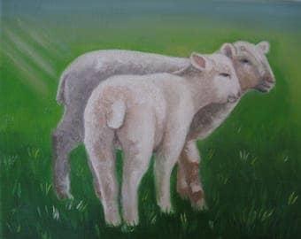 Lamb Oil Painting Sheep Art Spring Time Art Barnyard Animals Pet Portrait Farm Art Sheep Lovers Country Decor  Karen Snider Free Shipping