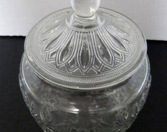 """Anchor Hocking Biscuit Cookie Jar with Lid / Clear Sandwich Glass Canister 10"""""""
