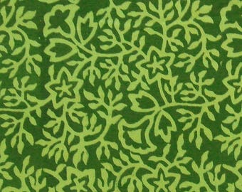 CIJ SALE Floral Print Cotton Fabric - Light Green Floral Pattern on Dark Green - 1 Yard - ctjp215