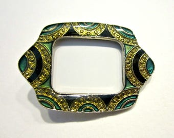 Vintage Art Deco Pin Revival LMC Enamel Picture Frame Brooch Vintage Jewelry Gift for Her Under 50 Gift Idea