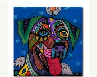45% Off Today- Catahoula Leopard Dog Angel art Tile Ceramic Coaster Print of painting by Heather Galler