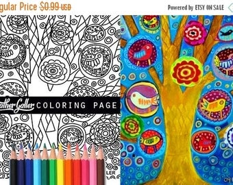 50 off today tree birds coloring animal coloring book adult coloring book - Dental Anatomy Coloring Book
