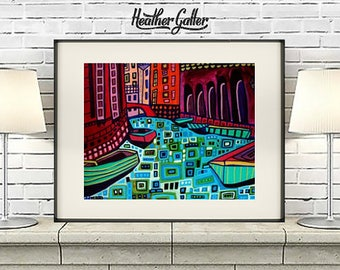 Venice Italy City Art  Print Modern Abstract Contemporary  Bright Colorful (HG879)