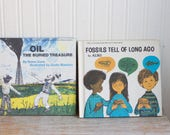 Vintage Books, Kids Childrens Science, Fossils Tell of Long Ago, Oil the Buried Treasure, 1970s Lets Read Learn About Science