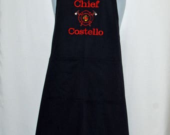 Fire Chief Apron, Firefighters Logo, Smokin Hot, Captain, Lieutenant, Custom Gift, Personalized With Name, Ships TODAY, AGFT 1232
