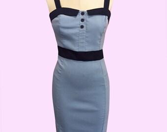 Blue Sybil Pinup Wiggle Dress