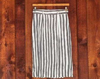 Vintage Modern Stripped Pencil Skirt • Grey and White Cotton Skirt