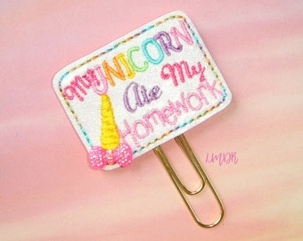My Unicorn Ate My Homework Glitter Paperclip Planner Clip in pastel