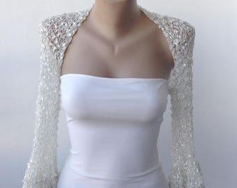 White Wedding Bolero-Silver Wedding Bolero-White Wedding Shrug-White Bridal Bolero-White Bridal Shrug-White Bridal Cover Up-Gift for Her