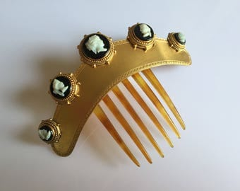 C. 1880s mid Victorian antique gilt metal tiara or antique hinged horn hair comb with early celluloid cameos on glass