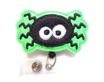 Halloween badge reel - id holder retractable - Silly Spider - lime green glitter vinyl black felt - medical staff nurse teacher badge reel