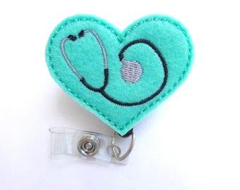 Badge Holder Retractable - Heart with Stethoscope - dark mint green felt - nurse badge reel doctor EMT RN medical badge reel