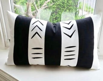 "Hand painted African symbol mudcloth throw pillow with insert 20"" x 12"" lumbar Handmade Artisan"