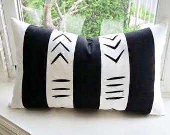"Hand painted African symbol mudcloth throw pillow with insert 20"" x 12"" lumbar Handmade Artisan"