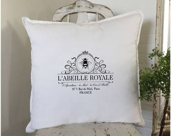 French Bee Pillow | Farmhouse French Decor | Farmhouse Decor | French Bee