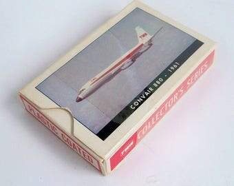1961 TWA Playing Cards with Original Box - Collectors Series -  Convair 889 Aircraft Photo