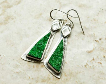 Druzy Earrings Green Tsavorite Garnet  in Sterling Silver Dangle Handcrafted