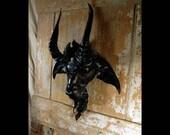 Black leather Baphomet Goat mask, Black Phillip