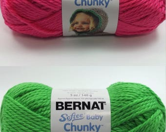 One 5oz Skein Bernat Softee Chunky Baby Pattycake Pink Or Sprout Green